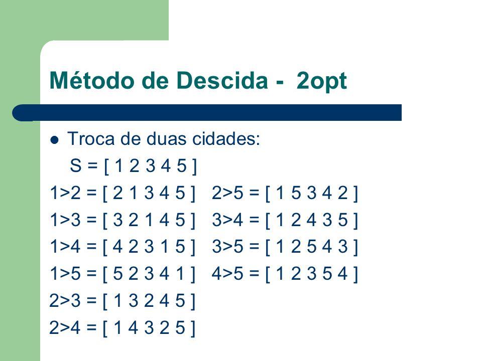 Método de Descida - 2opt Troca de duas cidades: S = [ 1 2 3 4 5 ]